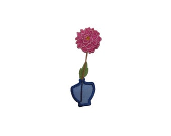 ID #7066 Pink Posy Flower Blue Vase Plant Iron On Embroidered Patch Applique