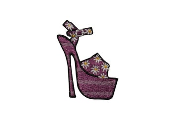 id 7325 blue high heel with vines shoe iron on