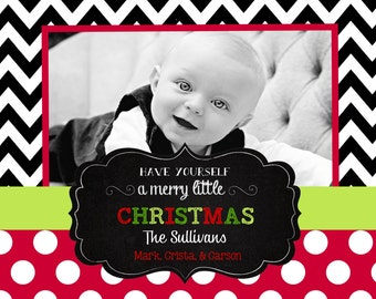 Chevron  Christmas  Cards -chalkboard
