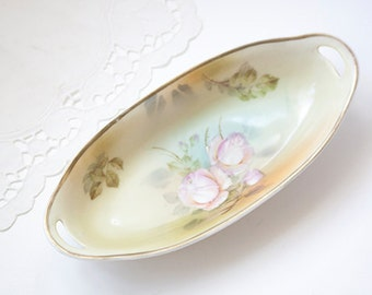 Shabby Rose Celery Dish Made in Germany Silas