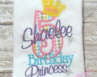 "Birthday Shirt w/Personalized Name & Age ""Birthday Princess"" Crown Embroidered Shirt Onesie Pink, Purple, Yellow, Blue"