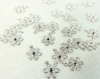 Flower Charms 25 pieces Silver Plate 12x12mm Craft Supply Jewelry Supply