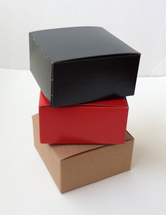 Small Boxes / Red Black Kraft Pinstripe / 10 /  Gift Retail Packaging 4x4x2 inches