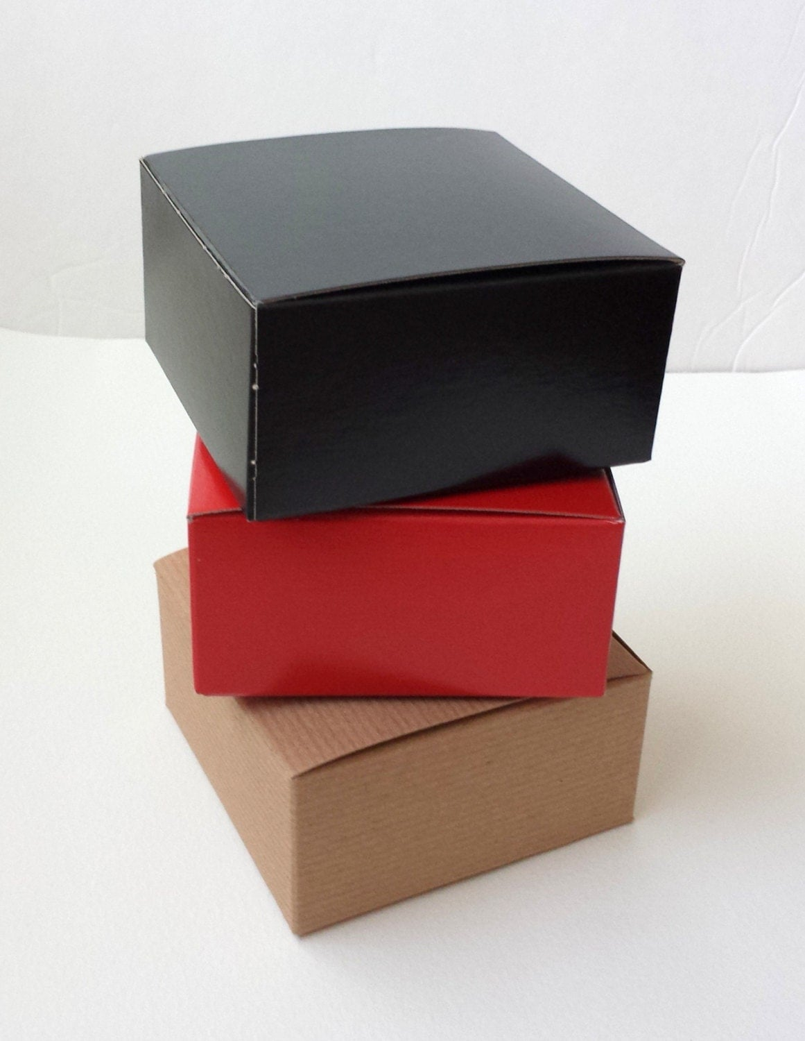 Small boxes red black kraft pinstripe 10 gift retail for Black box container studios