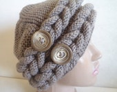 Hand Knit Hat Slouchy Hat Womens Chunky Hat Button Hat Women Accessories Hats Winter Women Hat Khaki Hat Gift for her