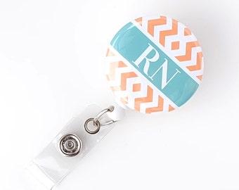 Chevron Badge Reel - Registered Nurse Badge Reel - Nurse ID Holder - RN Grad Badge Clip - Hospital Badge Pulls - Nurse Gift - BadgeBlooms