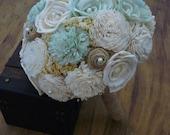 Wedding, Sola wood Bouquet, Burlap Mint Cream Bouquet, Alternative Bouquet, Mint Bouquet, Sola flowers, Wood Bouquet