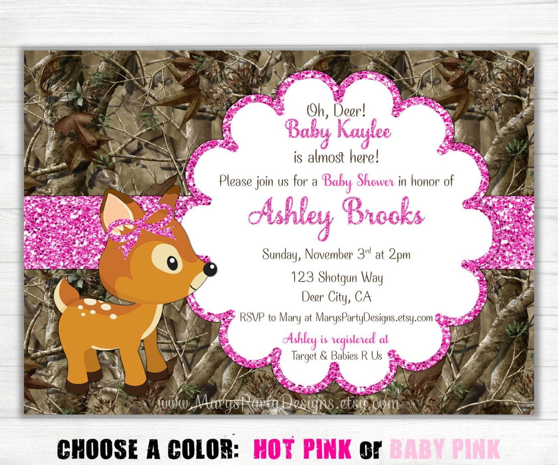 pink camo baby shower invitation girl glitter oh deer doe