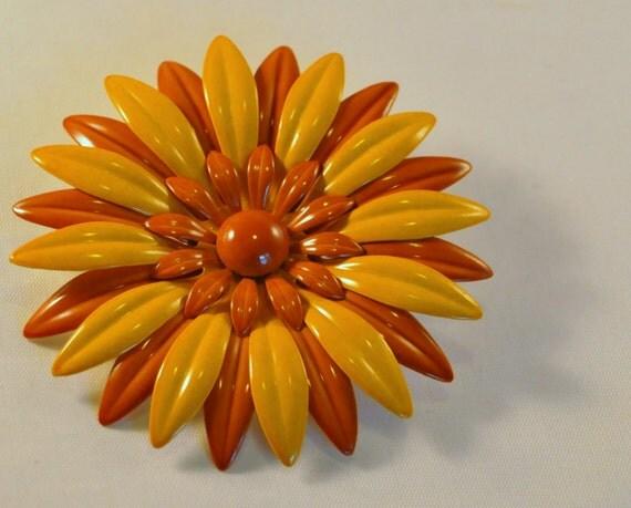 Vintage Enamel Flower Brooch MOD Dark and Light Yellow
