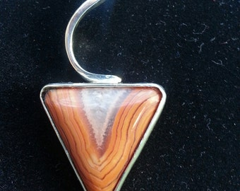 triangular Agate Pendant with cutout back