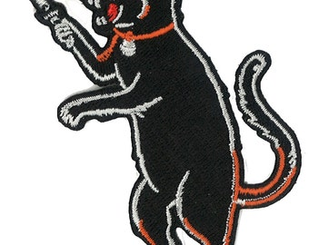 Cat Fink Iron On Black Cat Patch - Switchblade dagger knife - LOW BROW Halloween Rockabilly Psychobilly Retro Tattoo LowBrow Skater Hooligan