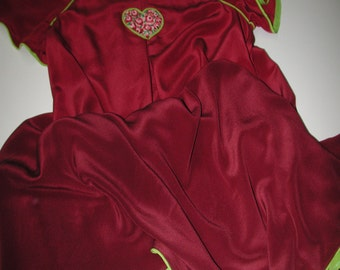 No. 500 Silk Crepe Nightgown In Ombre Red/Wine With Lime Green & Petit Point Heart (Fits Size 10-18)
