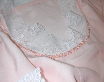 No. 500 Light Peach Silk Crepe Nightgown with Antique Valenciennes Lace, Casual Wear, (SIZE 14-20)