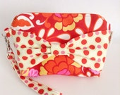 Orange and Pink Bow Wristlet - Cotton Fabric Wristlet - Wristlet with Bow on Front - Cute Wristlets