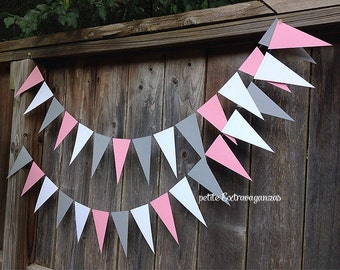 Pink and Gray Pennant Banner/ Triangle Garland