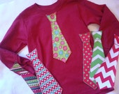 Christmas Holiday Iron On Tie Applique for Bigger Boy Shirts (Size 8-10)