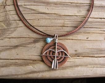 Tribal Necklace, Southwest Necklace, Bow and Arrow, Arrow Pendant, Turquoise Charm, Womens Accessory, Copper Pendant, Tribal Pendant