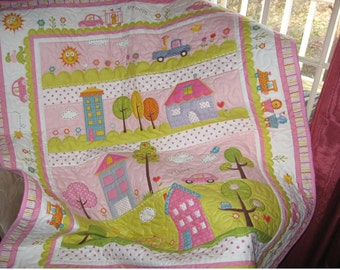Baby girl quilt, nursery blanket,  Dena Happi quilt, girls crib quilt, nursery decor, trees and houses quilt