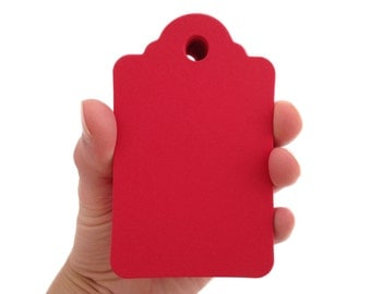 Large Red Hot Scalloped Top Tags - Create Something Truly Unique!
