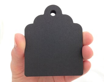Medium Chubby Black Licorice Scalloped Top Paper Tags - Create Something Truly Unique!