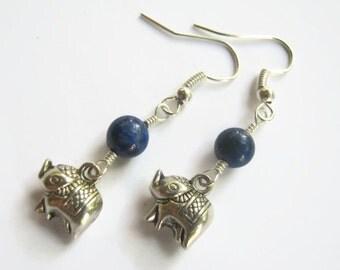 Dainty Elephant Earrings, Lapis Lazuli Earrings, India Hindu Jewelry, Buddhist Earrings, Boho Earrings, Yoga, Blue & Silver