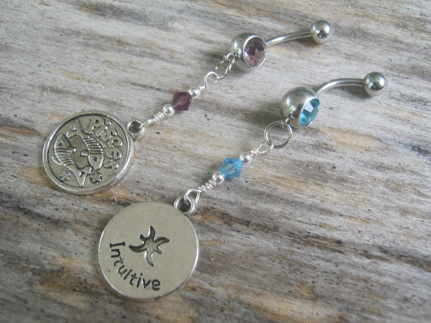 Pisces Belly Ring Zodiac Belly Button Jewelry Personalized