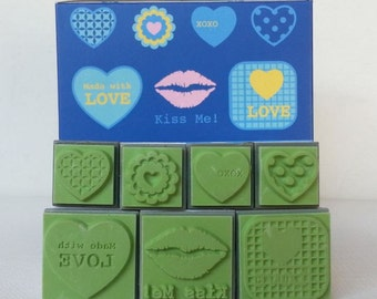 Love Kiss Rubber Stamp Kiss Me Set Valentine's Stamp, Lip, xoxo Scrapbook supply stamper,I love you, Heart,  high quality stamper ,7 stamps