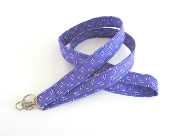 Lanyard ID Badge Holder Purple Violet Fabric Keychain - Gift for Her Lavender Keys Holder