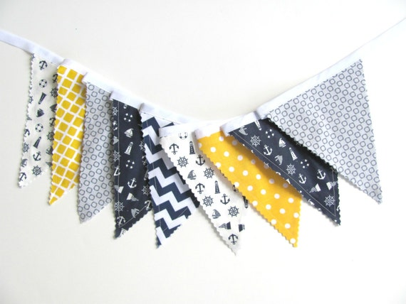 Nautical bunting boys nursery decor blue grey yellow fabric for Nautical nursery fabric