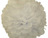 "4"" White Tissue Paper Pom Poms- Mini Paper Flower Pom- Wedding Decoartion- Baby Shower- Bridal Decor- Hanging Room Pom- Valentines- Birthday"