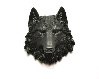 BROWN BLACK Faux Taxidermy Small Wolf Head Wall Hanging Wall Mount:  Willa the Wolf // kids room // woodland // office // nursery decor