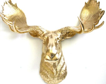 Faux Taxidermy Moose Head Wall Hanging Wall Mount Home Decor: Max the Moose in glistening gold
