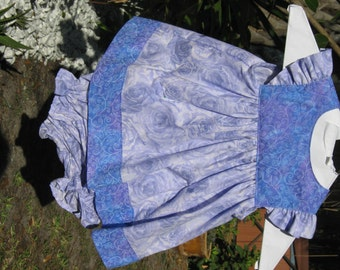 Beautiful Pick from the Garden! Purple Rose Sundress and Panties with Blue/Purple scroll contrast