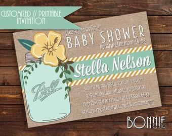 CUSTOMIZED // PRINTABLE // Baby Shower Invitation // Mason Jar Burlap Theme // Mustard, Peach or Lilac