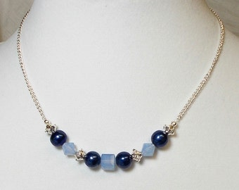 Blue Freshwater Pearl With Swarovski Air Blue Opal Crystal Necklace