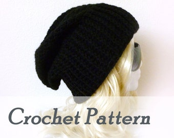 Crochet Pattern Instant Download - Biker Ribbed Slouchy Beanie - Crocheted biker hat Opie beanie - Detailed Beginner Instructions w photos