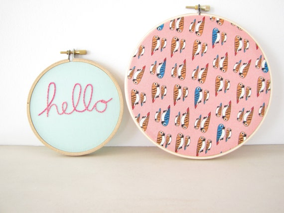 "Embroidery Hoop Wall Art Home Decor Set of 2 - hand lettered ""hello"" in hot pink pastel aqua soft coral tropical birds parrots"