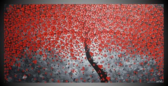 180 x 90 cm abstracto pintura acrílica estructurado moderno pintura arte árbol Flores Flores Muro original arte rojo Grau Schwarz por ilonka