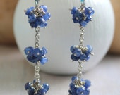 Blue Sapphire Gemstone Cluster Earring's - Long Silver Earrings  Sapphire Jewelry-  -  Lever Back Ear Hook -  Silver Lily Jewelry