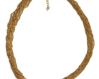 Gold Multi-Strand Seed Beads Necklace,Nepal, N119