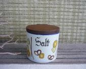 Vintage Ceramic Salt Box, with Wood Lid, Wall Mount Salt Cellar