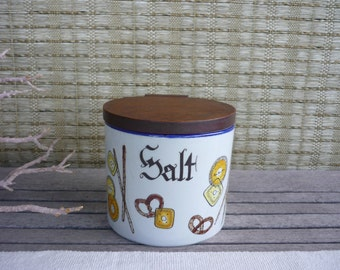 Vintage Ceramic Salt Box, with Wood Lid, Wall Mount Salt Cellar