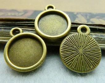 50PCS antique bronze 10mm pendant trays round bezel cabochon mountings- XC5719
