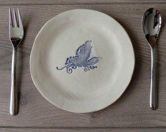 Rustic Ceramic Plate Blue Butterfly Lace Dessert Plate Serving Plate