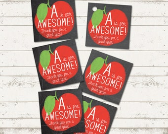 Teacher Gift Tags - Chalkboard - Apple - A is for AWESOME - Teacher Appreciation - Printable Design - Instant Download
