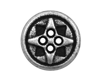 6 Tiny Cosmic 7/16 inch ( 11 mm ) Small Metal Buttons Antique Silver Color