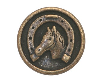 3 Dill Horse and Shoe 3/4 inch ( 20 mm ) Dill Metal Buttons Antique Brass Color