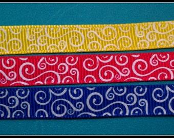 "Choice of 3/8"" swirl grosgrain ribbon 5 yards yellow, hot pink, royal"