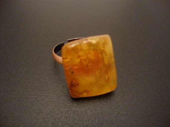 Amber Baltic Genuine Ring Vintage 3.12 Gr Light Yellow Color Copper Adjustable