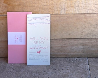 """Blush Pink Twine """"Will You Be My Bridesmaid"""" Card and Envelope"""
